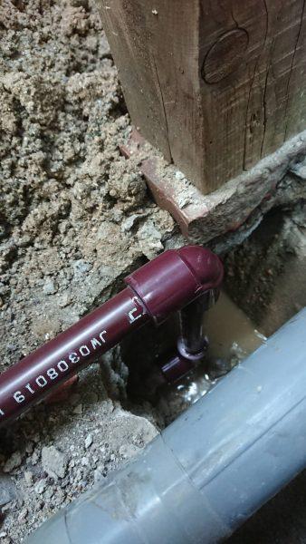高松市内で給湯配管の水漏れ